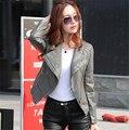Кожаная куртка женщин Весной и осенью 2016 новые кожаные пальто женщин короткие тонкий мотоцикл кожаная одежда женская верхняя одежда черный