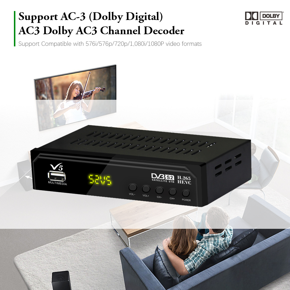 Image 5 - Vmade V5 DVB S2 HD Digital Terrestrial Satellite Receiver H.265 MPEG 2/4 Support AC3 Cccam Youtube Biss IPTV TV Box+usb wifi-in Satellite TV Receiver from Consumer Electronics