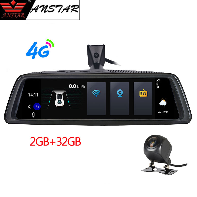 ANSTAR 10 ''Espelho Retrovisor Do Carro DVR 4G Android 2 GB + 32 GB Traço Cam HD 1080 P Câmera de Visão Noturna Automática GPS WIFI BT ADAS Secretário
