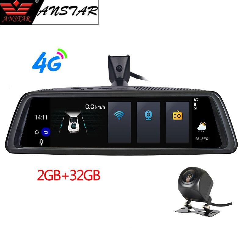 ANSTAR 10'' Rear View Mirror 2-CH 4-CH 4G Android Car DVR 2GB+32GB Dash Cam HD 1080P Auto Camera GPS WIFI ADAS Registrar