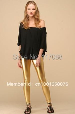 Legging Faux-Leather High-Waist Shiny Golden Stretchy Fashion ML7554 New-Design