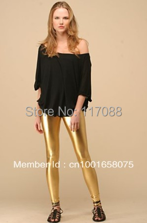 994d40eb54d Free Shipping ML7554 New Design Fashion Stretchy Jeggings Shiny Golden  Leather Legging Faux Leather High Waist Leggings