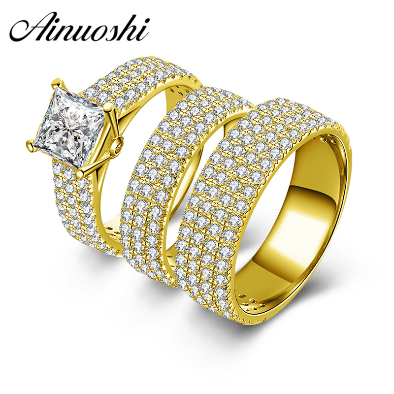 все цены на AINUOSHI 10k Solid Yellow Gold Couple 3pcs Rings Set Male Female Engagement Wedding Lovers Promise Bridals Trio Ring Set Jewelry онлайн