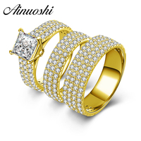 AINUOSHI 10k Solid Yellow Gold Couple 3pcs Rings Set Male Female Engagement Wedding Lovers Promise Bridals Trio Ring Set Jewelry