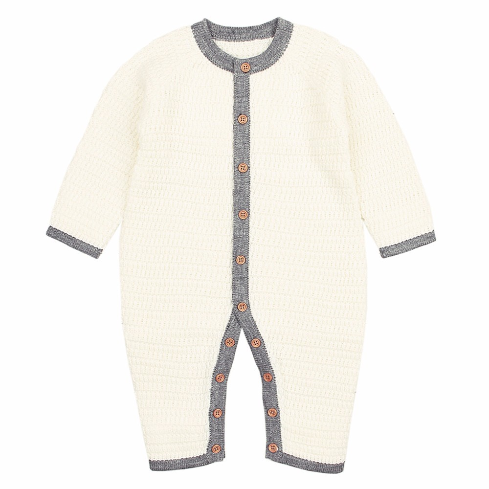 Solid Knitted Buttons   Romper   Warm Newborn Infant Baby Boy Girl Weave Long Sleeve   Romper   Jumpsuit Outfits Clothes