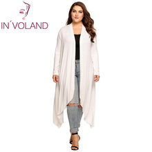 c002609ce IN VOLAND Mulheres Cardigan Jaqueta Plus Size Outono Frente Aberta Sólida  Envolto Senhora Grande Longo Grande Camisola Big Overs.