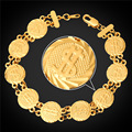 Dollar Coin Bracelet For MenWomen 20CM Hand Chain Gold Plated American Style HipHop Jewelry Wholesale H5158