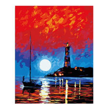 WEEN Moonlight Sea DIY Painting By Numbers Boat Painting&Calligraphy Unique Gift For Living Room Lighthouse Home Decor 16x20inch
