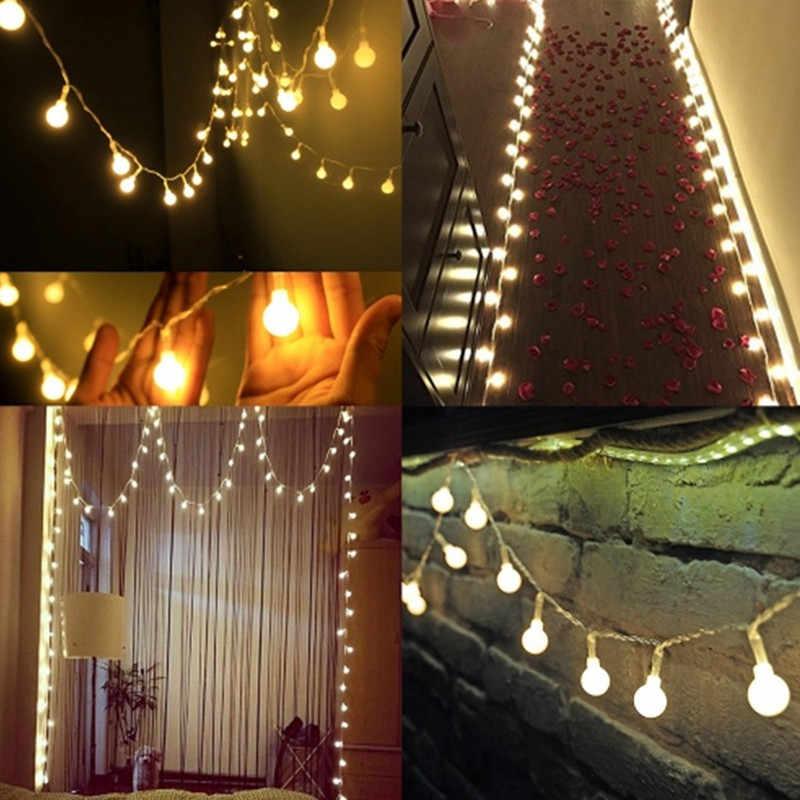 Nuevo 1,5/2/3/4/5/10 M/20 M 80/160 guirnalda LED de hadas de vacaciones guirnalda con luces redondas globo decoración de boda hogar batería cuerda luces