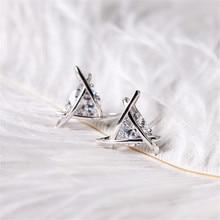 European and American Rhinestone Triangle Zircon Earrings Toe Square Stud Women