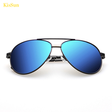 KisSun Brand New Navy Aviador Men Sunglasses Mirrored Black G ray Shades Polarized Male Car Driving Sun Glasses Eyewear Oculos