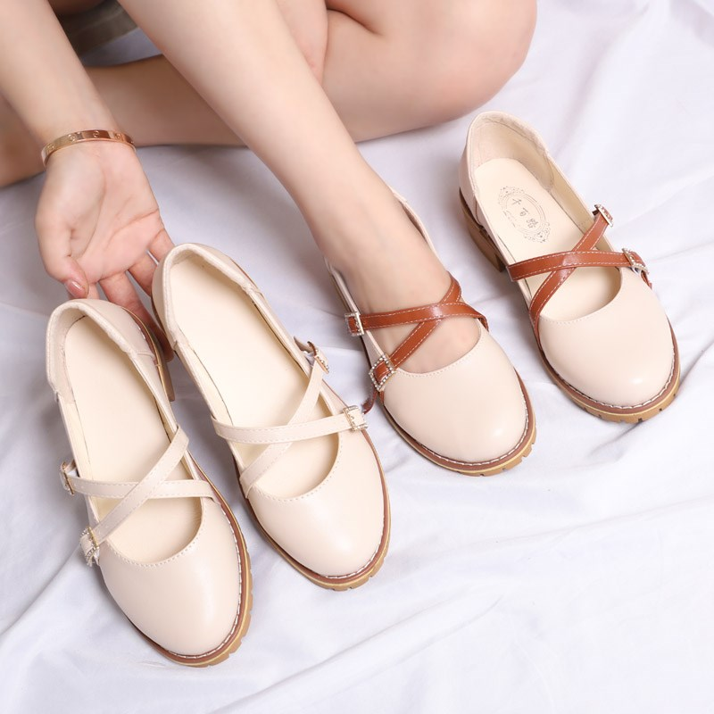 Japanese Student Shoes College Girl Lolita Sweet Shoes JK Uniform Shoes PU Leather Mary Jane Straps Cross Shoes