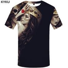 KYKU Card T-shirt Men Black Skull T Shirt Anime Clothes Beauty 3d Printed Tshirt Funny Shirts King Punk Rock Mens Clothing New