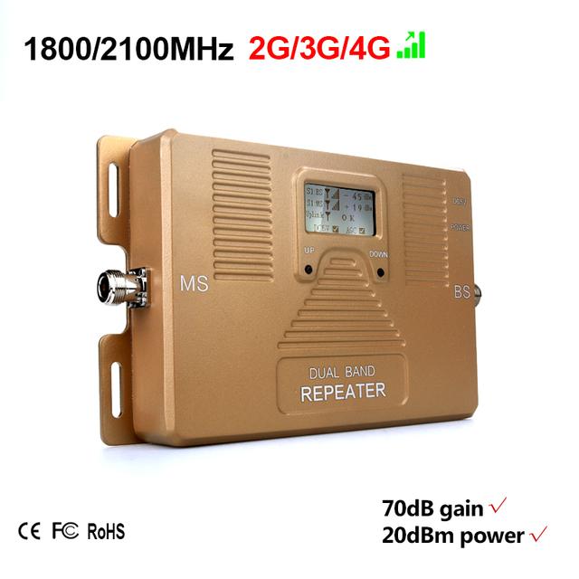 Frete grátis! 2G 3g 4G 1800/2100 mhz amplificador de sinal de celular dual band repetidor de sinal com display LCD, apenas reforço