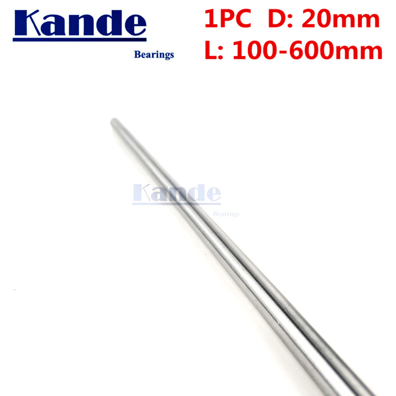 Kande Bearings 1pc d: 20mm L 100-600 mm 3D printer rod shaft 20mm linear shaft 100mm chrome plated rod shaft CNC parts 100-650mm kande bearings 1pc d 16mm 3d printer rod shaft 16mm linear shaft 230mm chrome plated rod shaft cnc parts 100 700mm