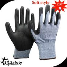 Anti-Cut Gloves HPPE Srsafety Ce with Pu-On Level-5 2-Pairs