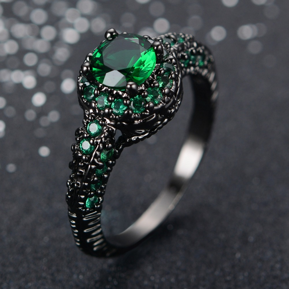 fashion female green ring engagement rings black gold filled jewelry vintage wedding rings for women bague - Vintage Wedding Rings For Women