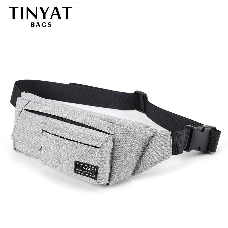 TINYAT Men Women Waist Bag Pack Bag For Men's Belt For Phone Money Light Belt Bag With 4 Pockets Travel Casual Belt Pouch 0.17kg