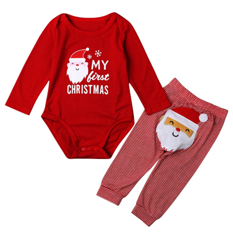 2017 1 Set Autumn Newborn Santa Claus Tops Baby Boys Girls Romper Playsuit +Long Pants Clothes Outfits Christmas Sets j2 christmas gift 2016 hot baby jumpsuit santa claus clothes kids overalls newborn boys girls romper children costume