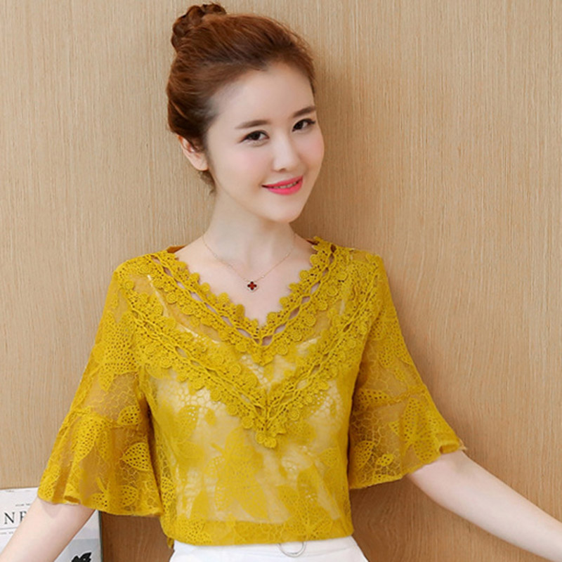 Beauty Lady White Lace Blouses Size S-2XL New Korean Half Sleeve Clothing 2020 New Summer Women Fashion Pink Shirts