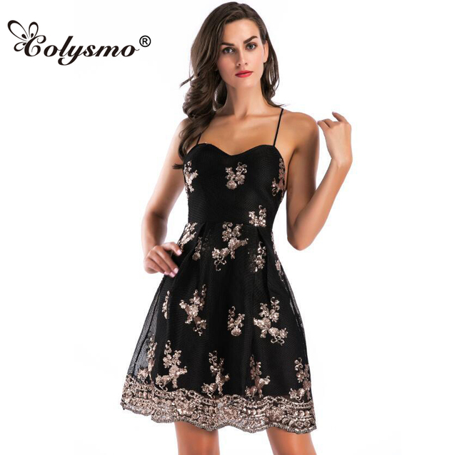 Colysmo Elegant Sleeveless Sequined Dress Back Strap Sexy Summer Dresses  Backless Women Embroidered Mini Skater Dress 7fabf844f031