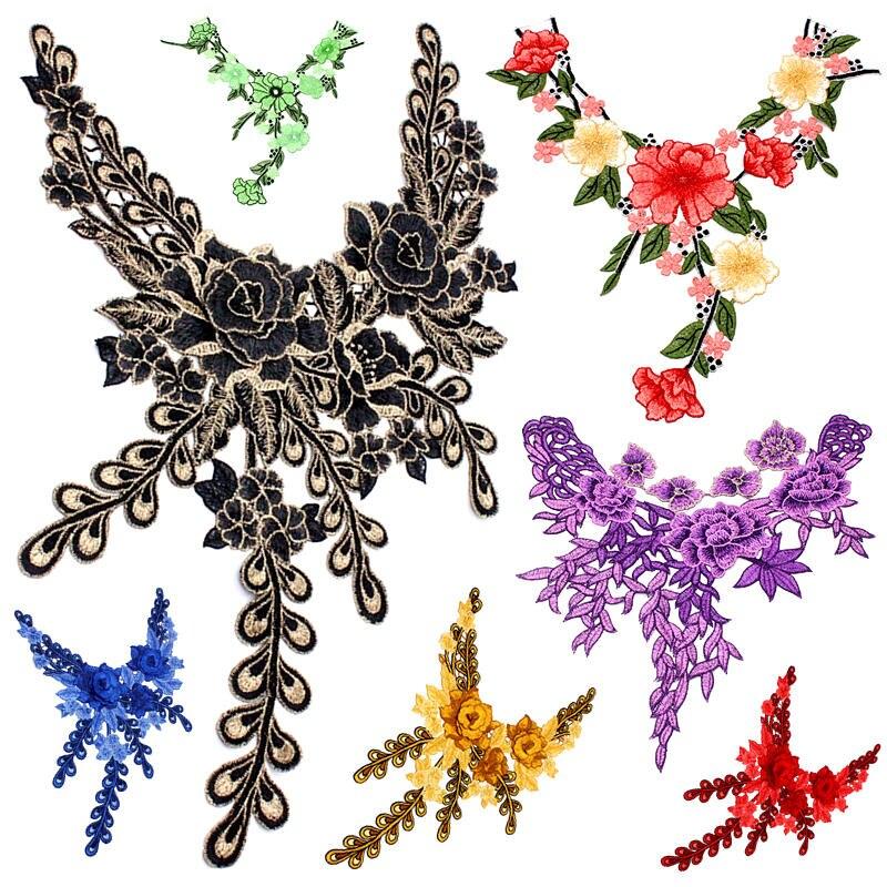 1pcs Rose Flower Lace Applique Sewing Collar Neckline Diy Craft Accessories Patchs