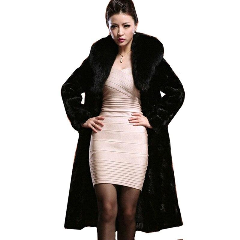 где купить Leiouna 2018 Large Size 6XL New Warm Winter Women Coat Lady Long Black Big Collar Thick Fur Overcoat Parka Jacket Ropa Mujer дешево