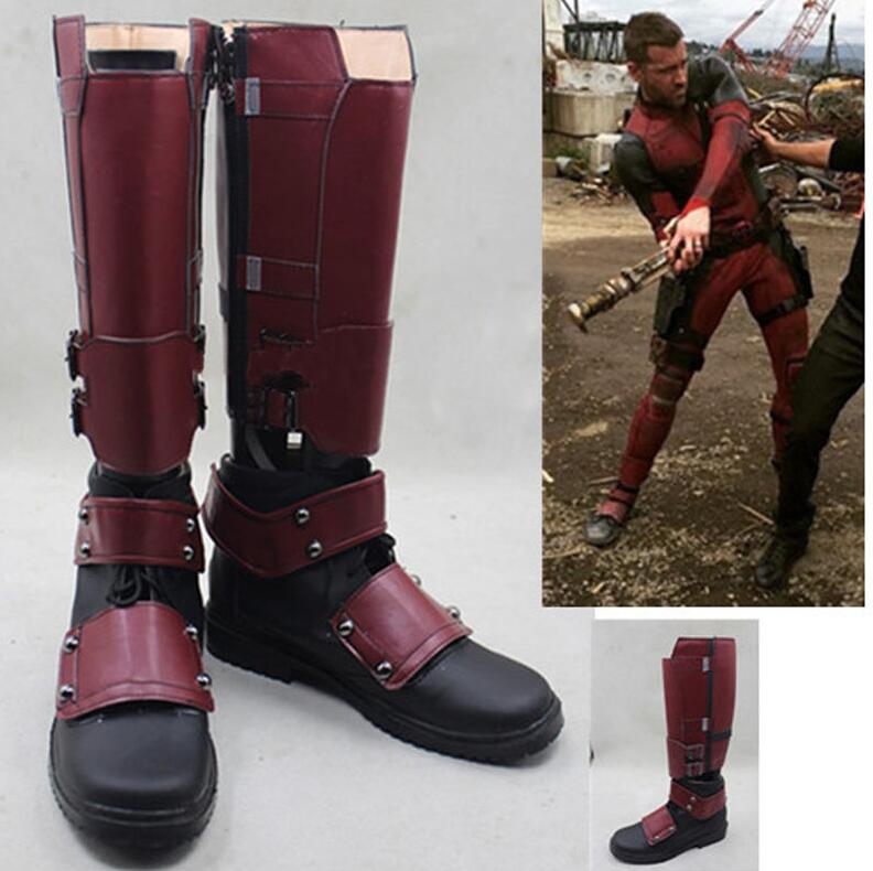 Movie X Men Deadpool Wade Wilson Boots Cosplay Shoes Red Boots Custom Made Shoe
