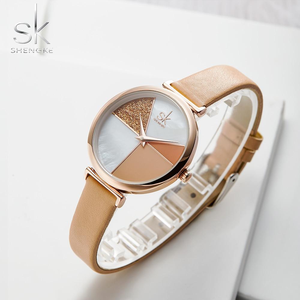 Shengke Watch Women Casual leather Ladies Watch Japanese Quartz Watch Lady Wrist Watches Clock Reloj Mujer Montre Femme SK+Box