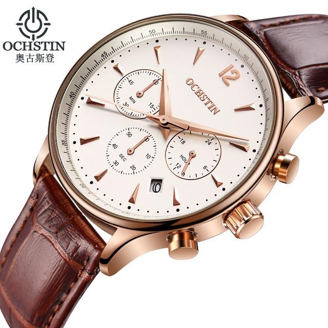 Luxur marca ochstin reloj hombre cronógrafo casual sports fashion relojes correa de cuarzo militar del ejército del reloj del relogio masculino