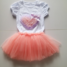 pink fluffy skirt and white o-neck summer tees puff-sleeved short tee set pattern fashion tee outfit  dress