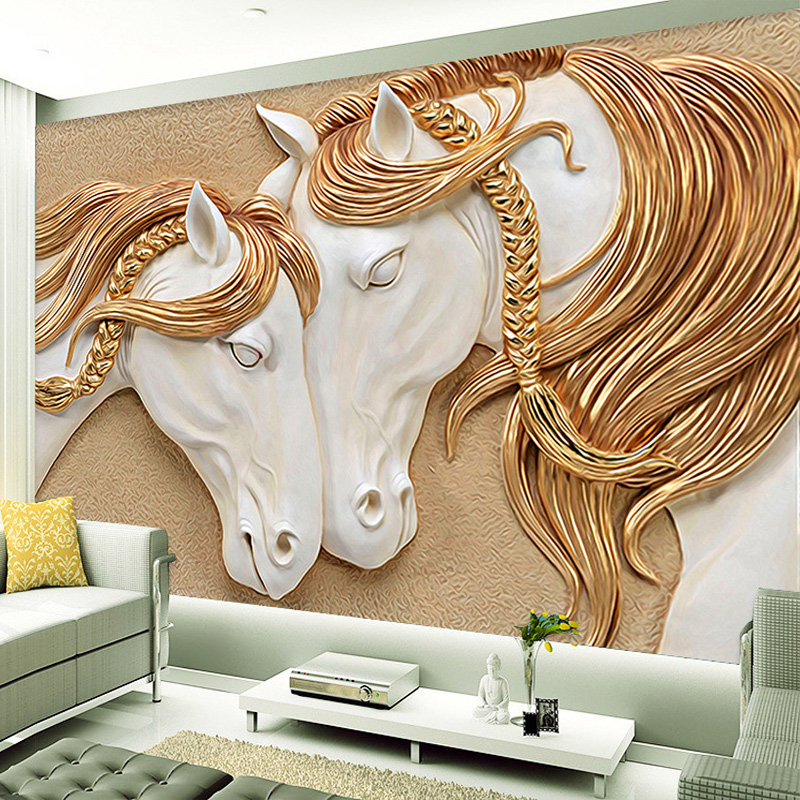 Custom mural wallpaper 3d golden mane horses wall art for Custom wall mural