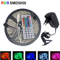 5M 150LEDs RGB LED Strip 5050 SMD Flexible Light Neon Lamp Tiras LED Light +44key IR Remote controller+3A power Adapter EU/US