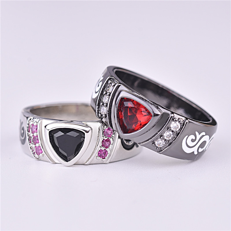 Everoyal Vintage Crystal Triangle Black Rings For Women Jewelry Trendy Lady Heart Red Hollow Ring Female Accessories Girls Bijou