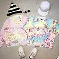 Harajuku estilo preppy super bonito dos desenhos animados dog Tie Dye imprimir um grande camisola mulher doce moda camisola de malha 1417
