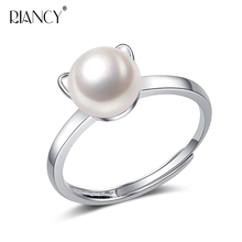 Fashion cute Cat ears Pearl Ring Natural Freshwater Jewelry black Rings For Women Wedding Gift