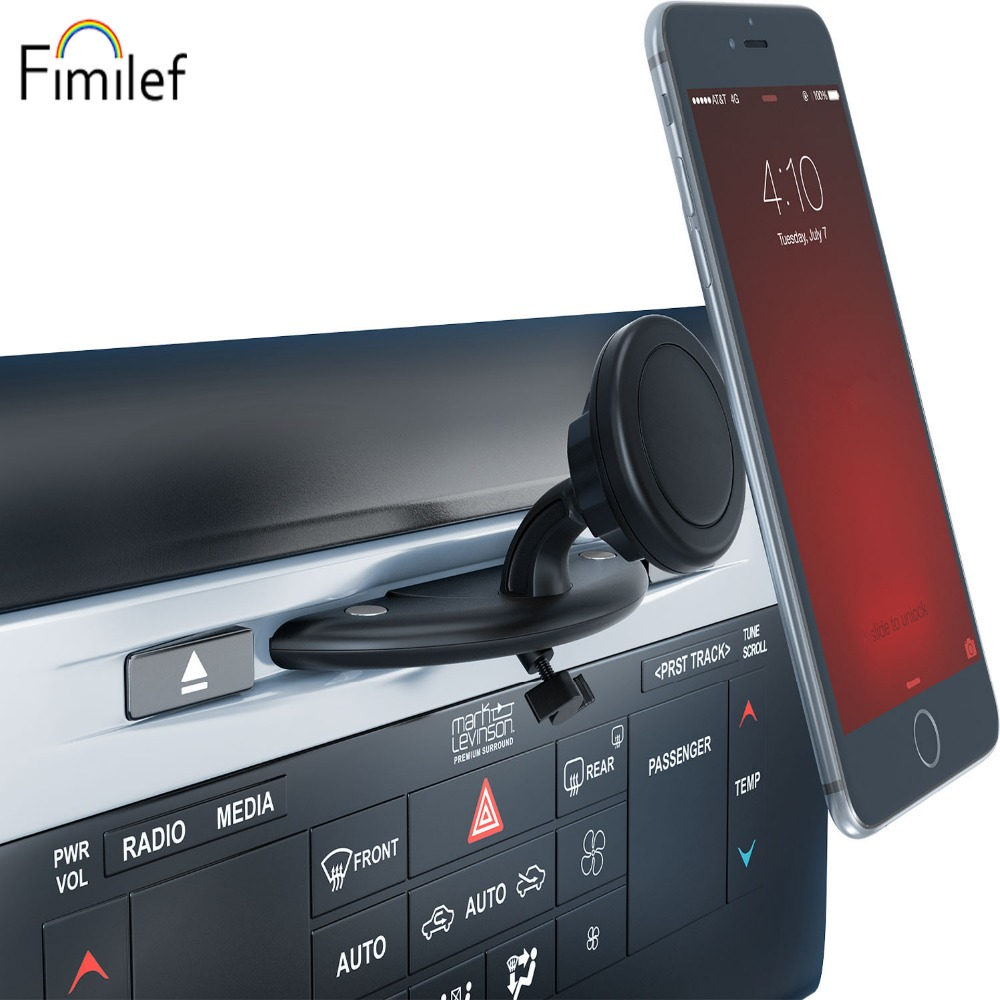 Fimilef Magnetic Car Phone Holder CD Slot Stand Mount Mobile Support Cellular Phone Smartphone Holder In Car For Iphone5 6 7 8