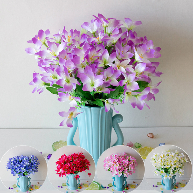 18 Head Artificial Lily Flower Silk Bouquet INS Nordic Home Garden Floral Decoration Party Wedding Place Ornament Decor Supply29 image