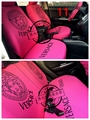 2016 Car Seat Covers Fine pure cotton and lycra yarn fabric production Car Styling auto accessories Pink black car covers 72925