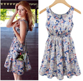 Free Shipping top sale 2016summer new fashion women's sleeveless flower printed vest dress WL2202