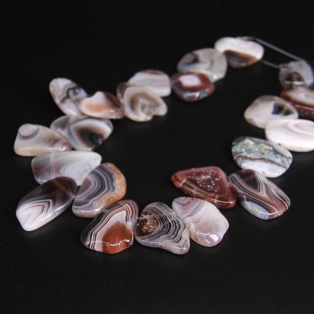 Approx19PCS/strand Top เจาะดิบบอตสวานา Agates Slab Slice หลวมลูกปัด, แถบ Agates อัญมณีหิน Nugget จี้เครื่องประดับทำ