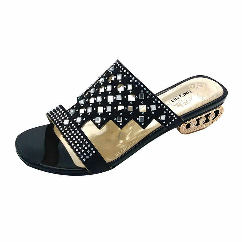 LIN KING New Design Pierced Rhinestone Women Slippers Bohemia Glitter Slides Fashion Square Heel Summer Party Slippers Big Size