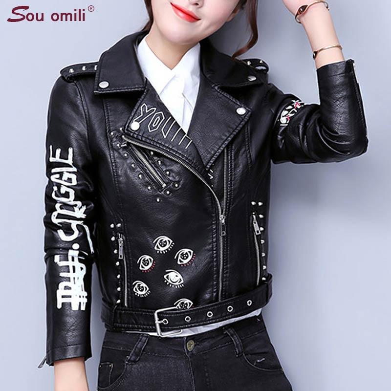Printed Letters Rivet Leather Jacket Women Punk Moto Coat Black Faux Jacket jaquetas couro Casaco chaquetas