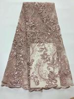 Luxury African 3D sequined lace fabric 2019 high quality lace French sequence lace Nigerian lace fabric dubai wedding