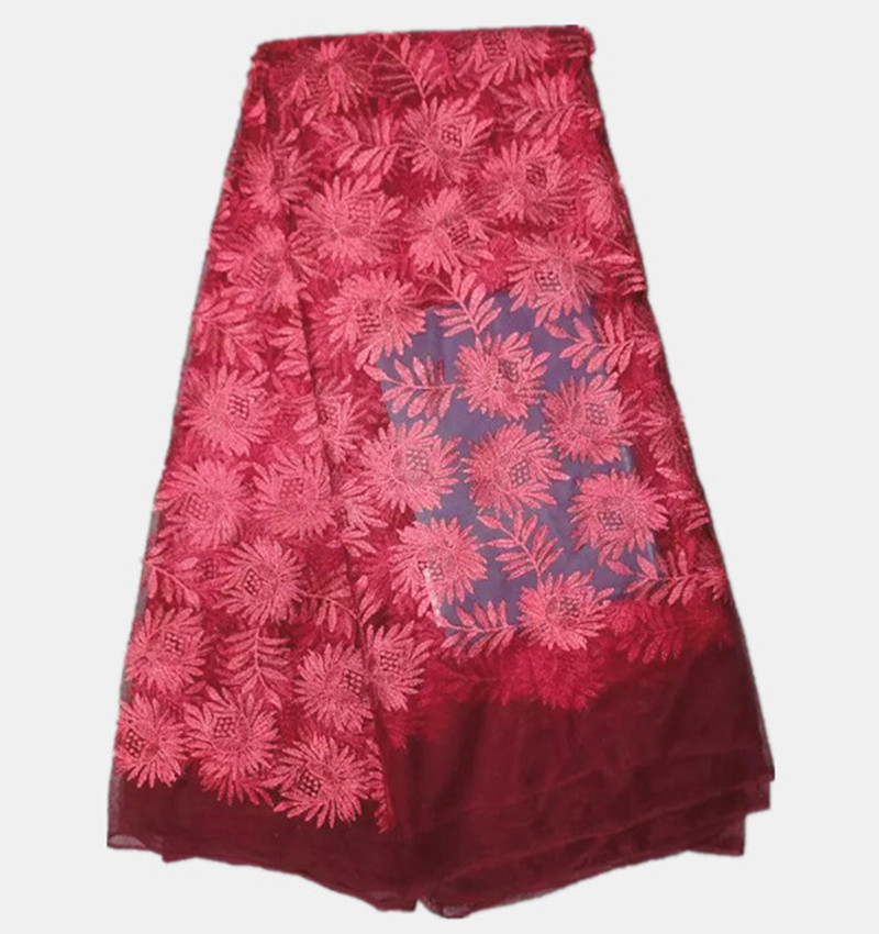 ᐂfashionable Wine Red Embroidery African Mesh Fabric French Net