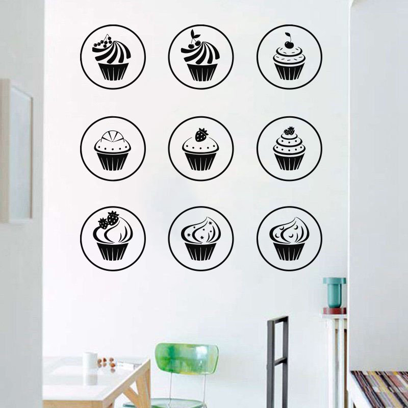 Delicious Cake Vinyl Wall Sticker Sweets Cafe Shop Wall Window Decals Removable Art Mural Wall Decals Home Decor X75 in Wall Stickers from Home Garden