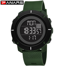 PANARS Digital Watch Men Waterproof Luxury Brand Swimming Sport Watches For Men Clock Army Green Male Electronic LED Wrist Watch sinobi brand big dial men watch army green silicone band waterproof sport watch wrist led display quartz digital clock boys 2018