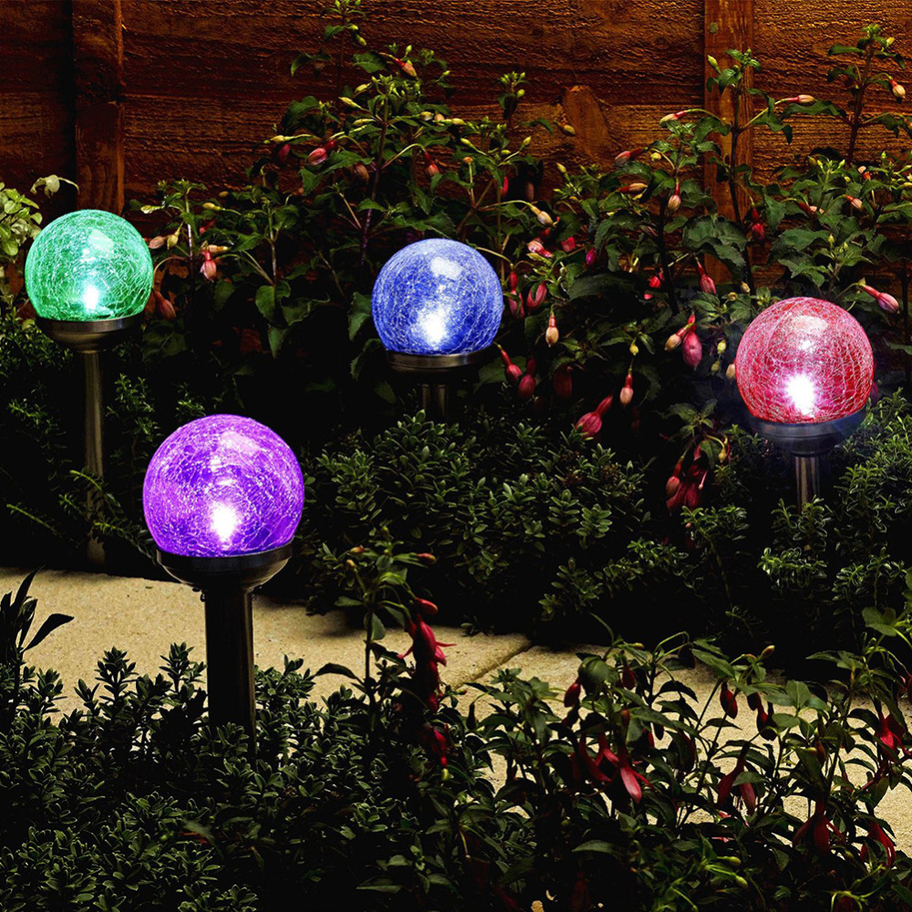 Colorful Crackle Glass Globe Solar LightSolar Graden