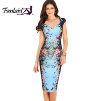Fantaist Women Summer Vintage Deep V Neck Floral Print Sexy Elegant Cocktail Party Fitted Bodycon Pencil