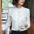 2017 Spring Fashion Ruffles Long Sleeve Chiffon Blouse Women Korean Striped Ladies Office Shirts White Casual Blusas Mujer